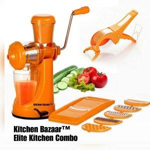 6. Kitchen Bazaar Elite Kitchen Combo of 3-Manual Juicer With Steel Handle