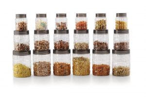 8. Cello Checkers Plastic PET Canister Set, 18 Pieces, Clear