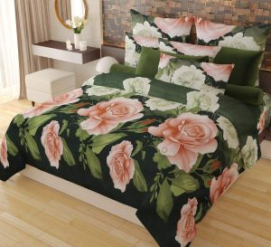 5. Home Candy Elegant Floral Print Double Bed Sheet