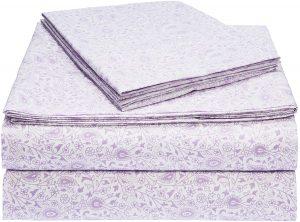 3. AmazonBasics Lavender Paisley Microfiber Bed Sheet