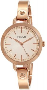 9. Fossil Analog Rose Gold Dial Watch
