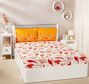 1. Solimo Lily Bloom Double Bed Sheet